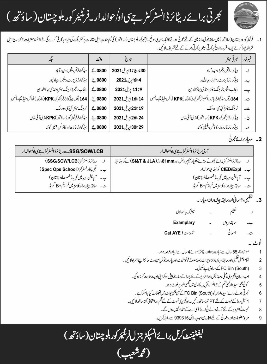 Frontier Core Baluchistan JCO Jobs Latest