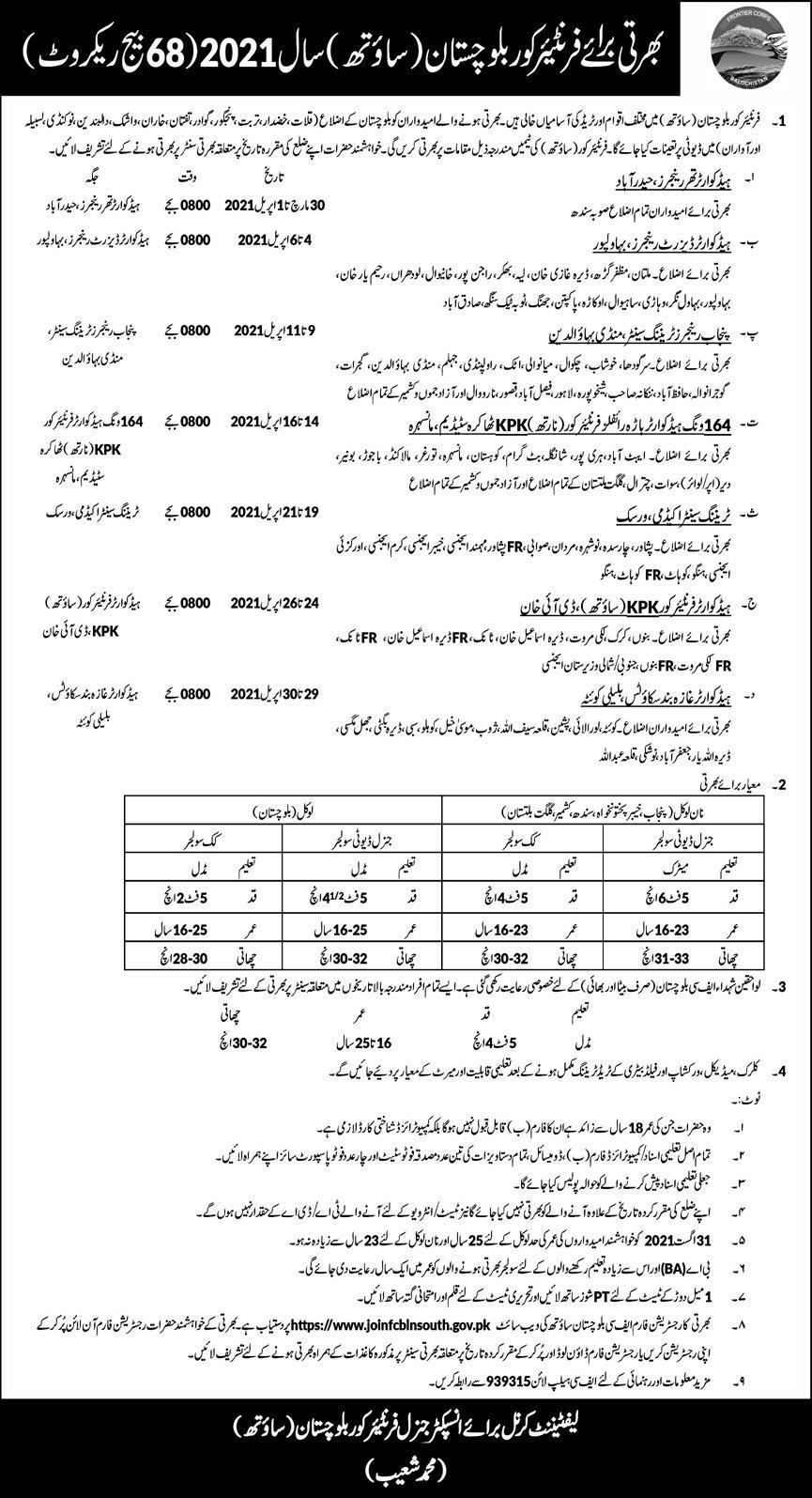 Frontier Corps FC Balochistan Batch 68 Jobs Advertisement