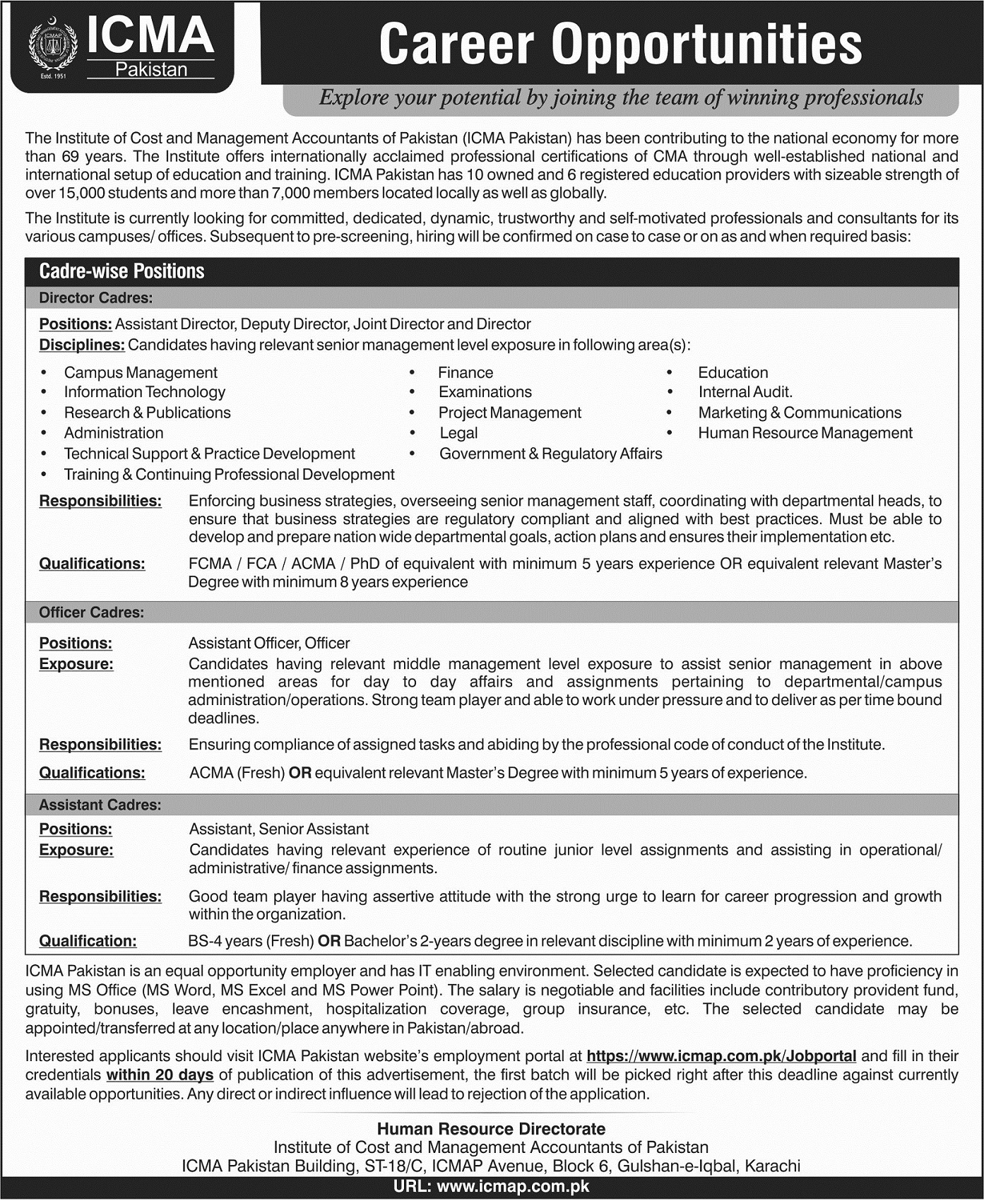 Institute Of Cost And Management Accounting ICMA Jobs Apply Online